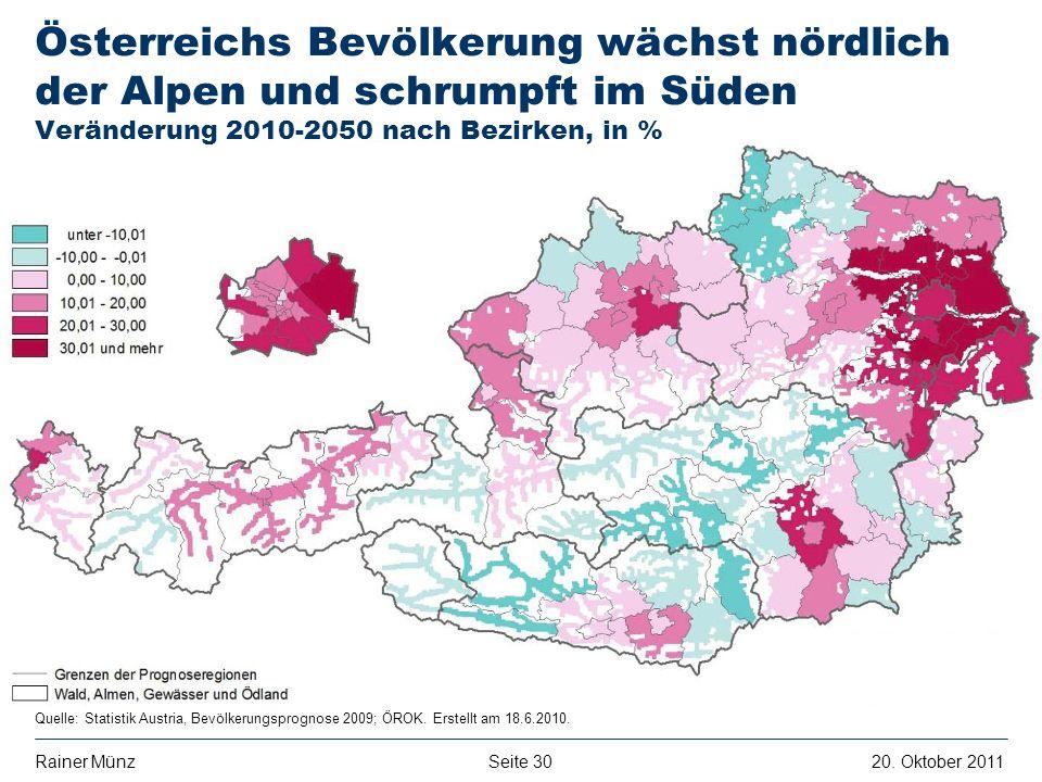 Österreichs Bevölkerung wächst nördlich der Alpen und schrumpft im Süden Veränderung 2010-2050 nach Bezirken, in %