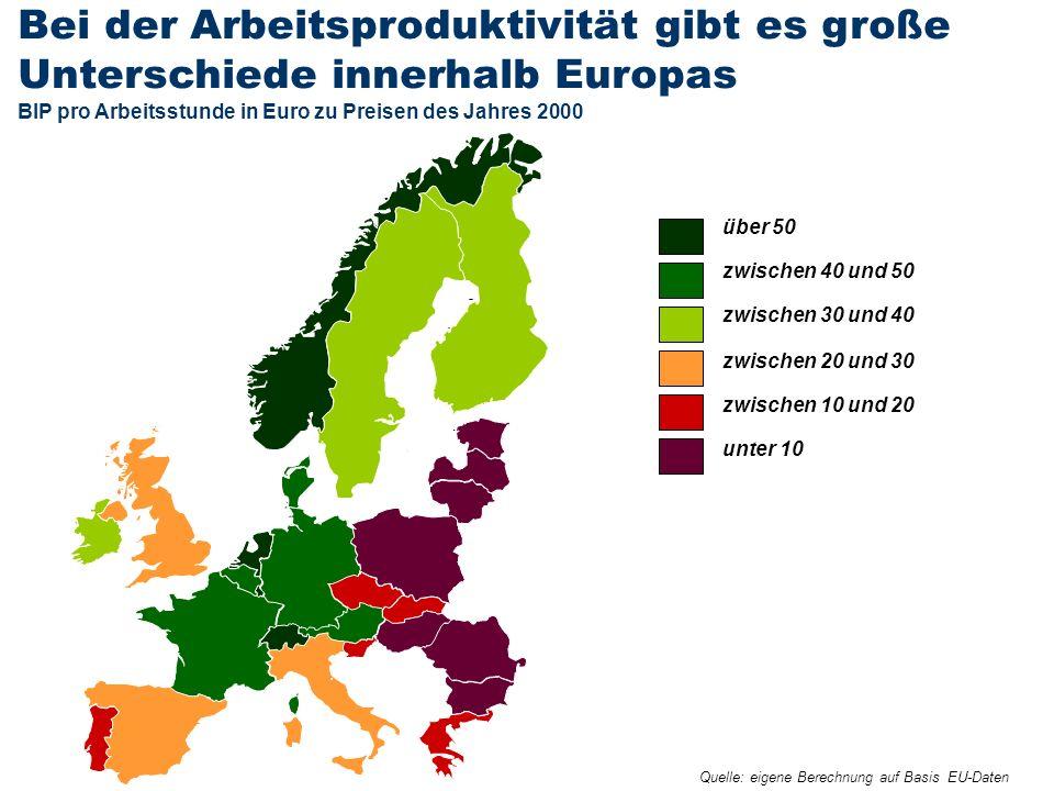 Bei der Arbeitsproduktivität gibt es große Unterschiede innerhalb Europas BIP pro Arbeitsstunde in Euro zu Preisen des Jahres 2000