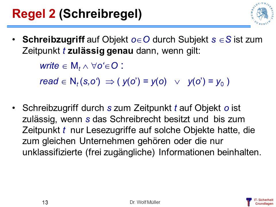 Regel 2 (Schreibregel) Schreibzugriff auf Objekt oO durch Subjekt s S ist zum Zeitpunkt t zulässig genau dann, wenn gilt: