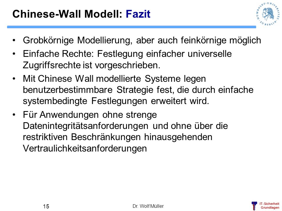Chinese-Wall Modell: Fazit
