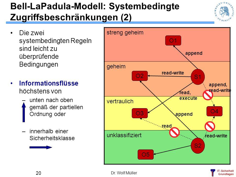 Bell-LaPadula-Modell: Systembedingte Zugriffsbeschränkungen (2)