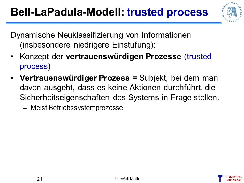 Bell-LaPadula-Modell: trusted process