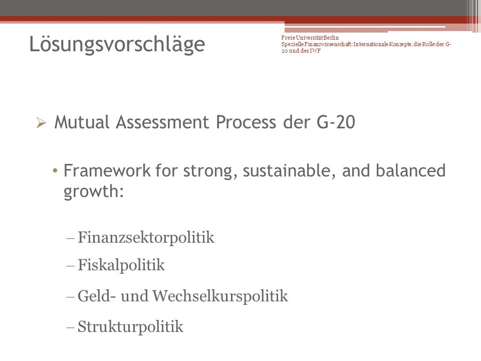 Mutual Assessment Process der G-20