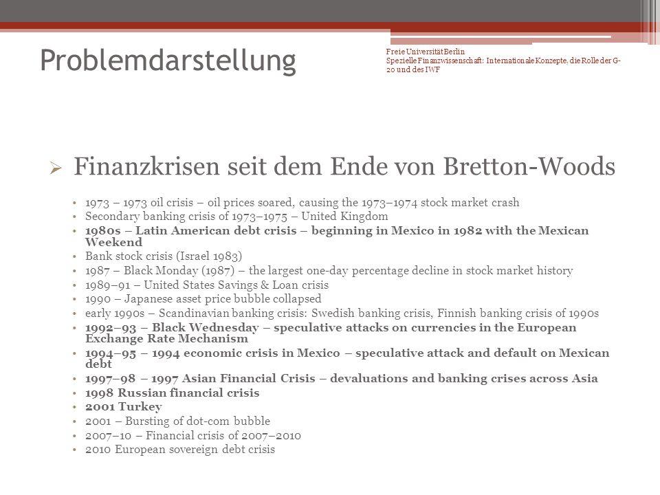 Problemdarstellung Finanzkrisen seit dem Ende von Bretton-Woods