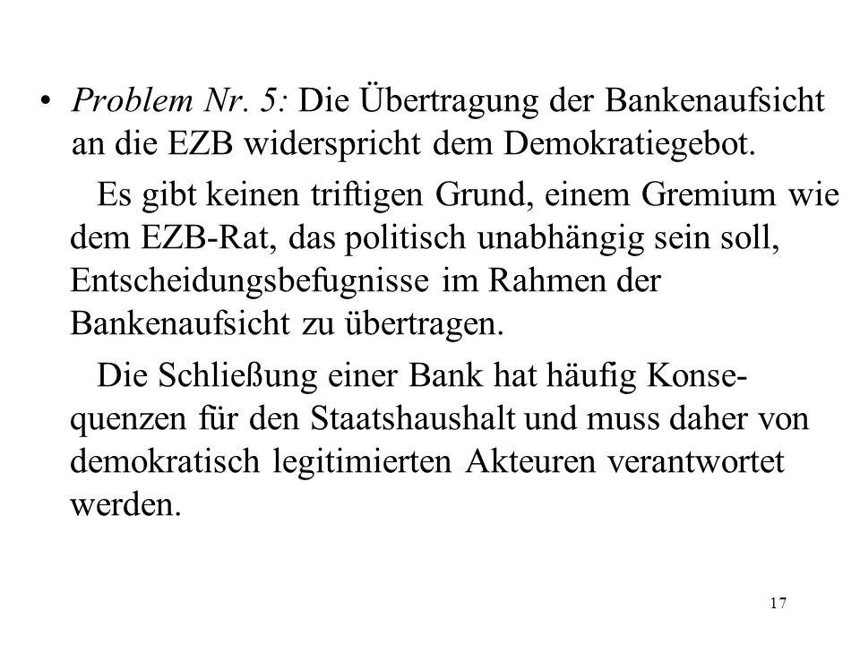 Problem Nr. 5: Die Übertragung der Bankenaufsicht an die EZB widerspricht dem Demokratiegebot.