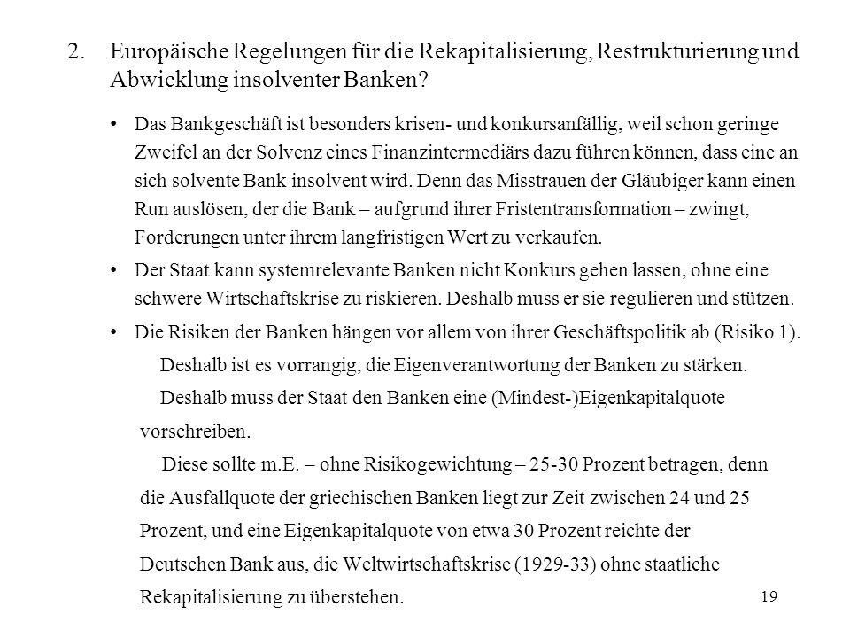 Europäische Regelungen für die Rekapitalisierung, Restrukturierung und Abwicklung insolventer Banken