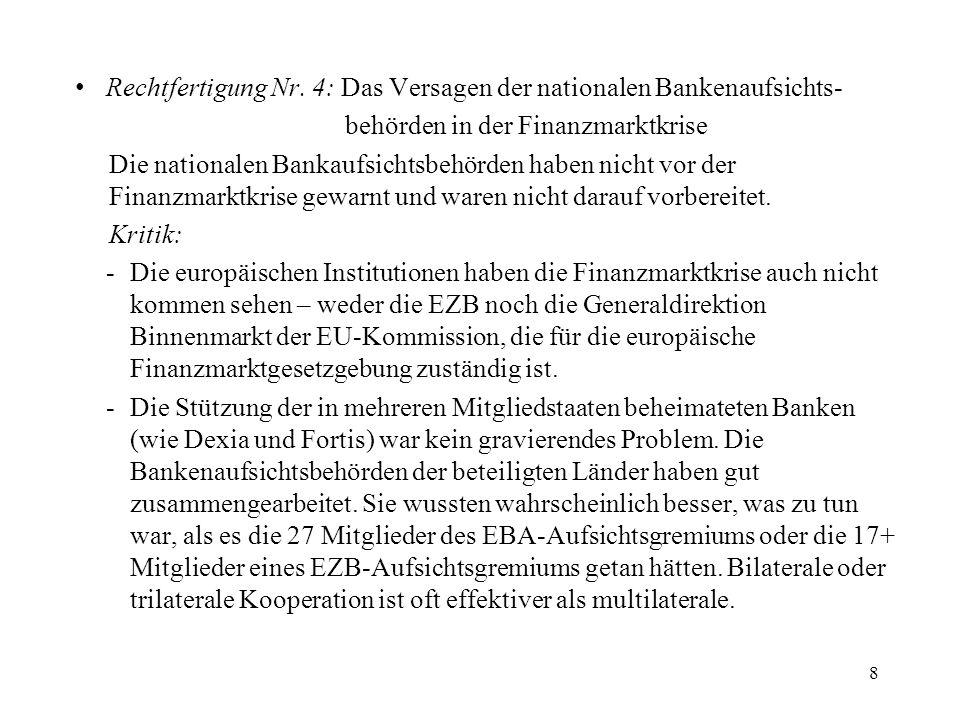 Rechtfertigung Nr. 4: Das Versagen der nationalen Bankenaufsichts-