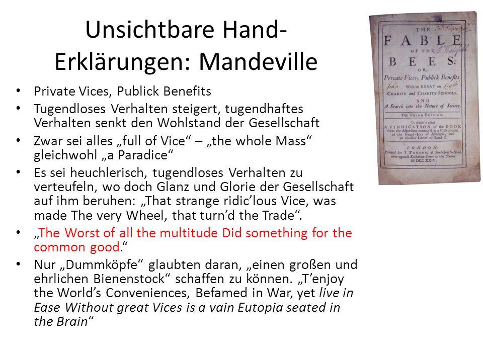 Unsichtbare Hand-Erklärungen: Mandeville