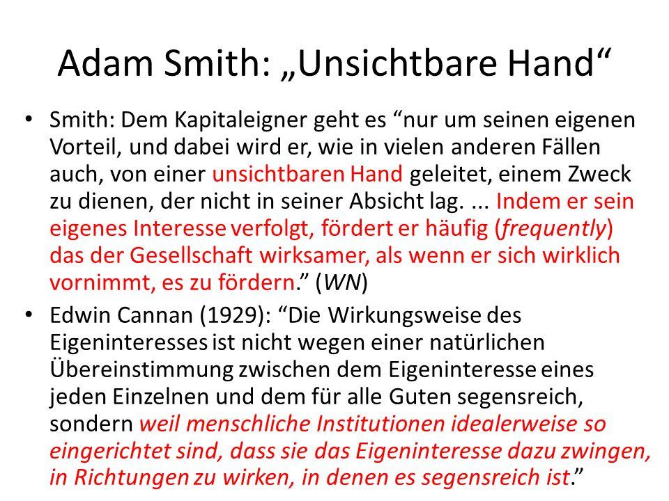 """Adam Smith: """"Unsichtbare Hand"""