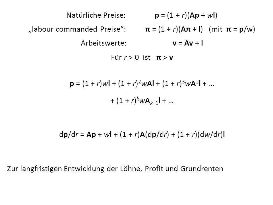 """Natürliche Preise: p = (1 + r)(Ap + wl) """"labour commanded Preise : π = (1 + r)(Aπ + l) (mit π = p/w) Arbeitswerte: v = Av + l Für r > 0 ist π > v p = (1 + r)wl + (1 + r)2wAl + (1 + r)3wA2l + … + (1 + r)kwAk–1l + … dp/dr = Ap + wl + (1 + r)A(dp/dr) + (1 + r)(dw/dr)l Zur langfristigen Entwicklung der Löhne, Profit und Grundrenten"""