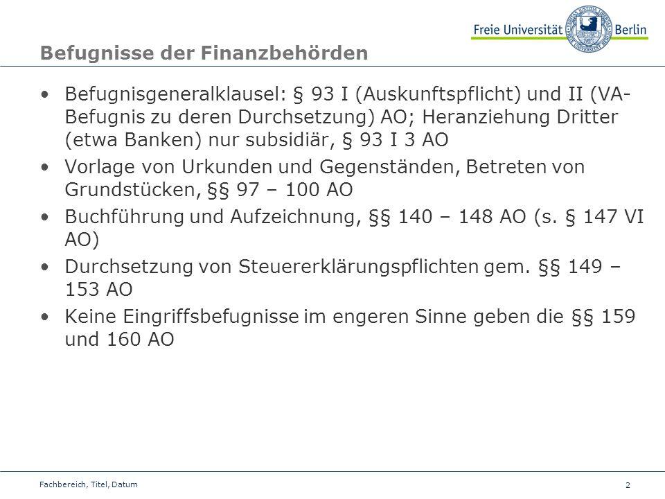 Befugnisse der Finanzbehörden