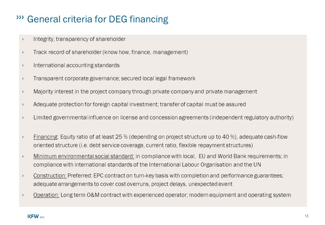 General criteria for DEG financing