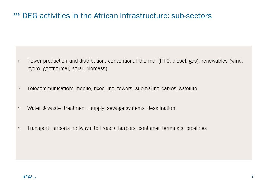 DEG activities in the African Infrastructure: sub-sectors