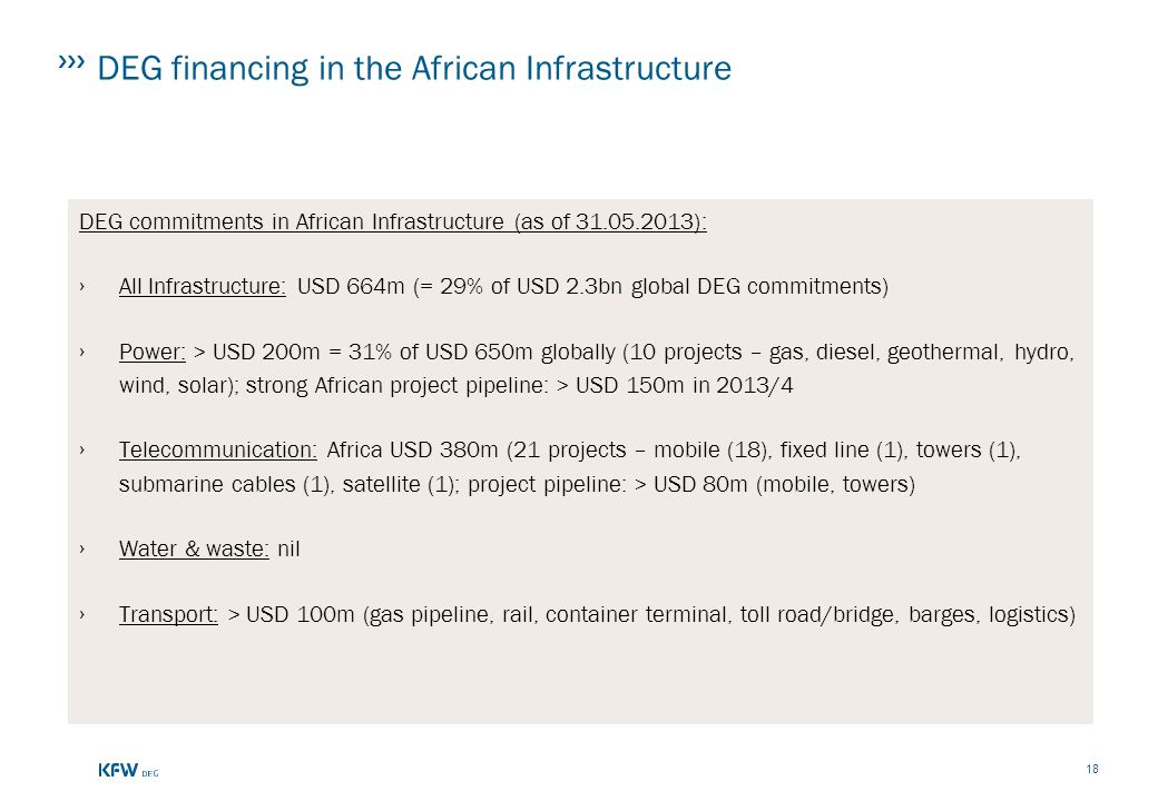 DEG financing in the African Infrastructure