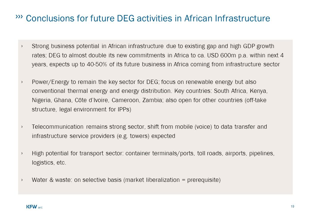 Conclusions for future DEG activities in African Infrastructure
