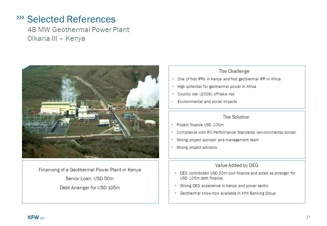 Selected References 48 MW Geothermal Power Plant Olkaria III – Kenya