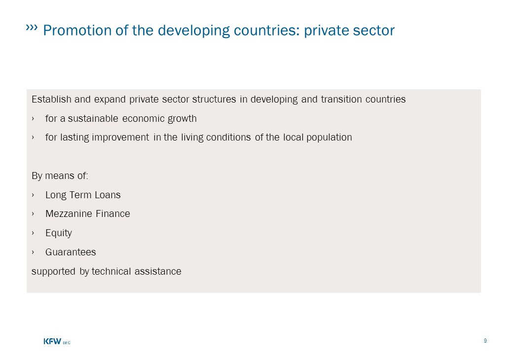 Promotion of the developing countries: private sector