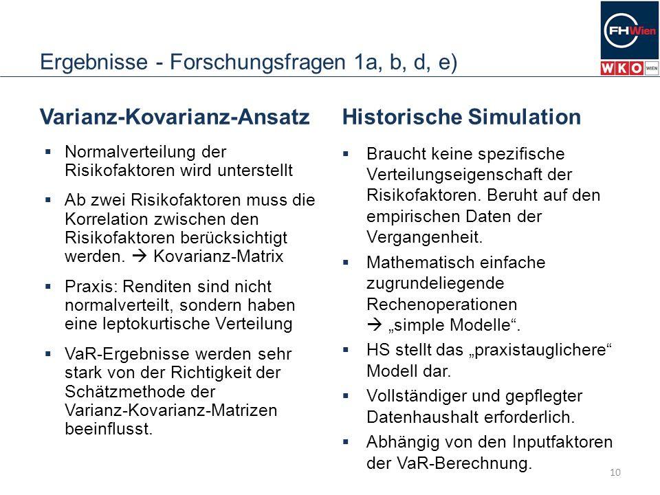 Ergebnisse - Forschungsfragen 1a, b, d, e)