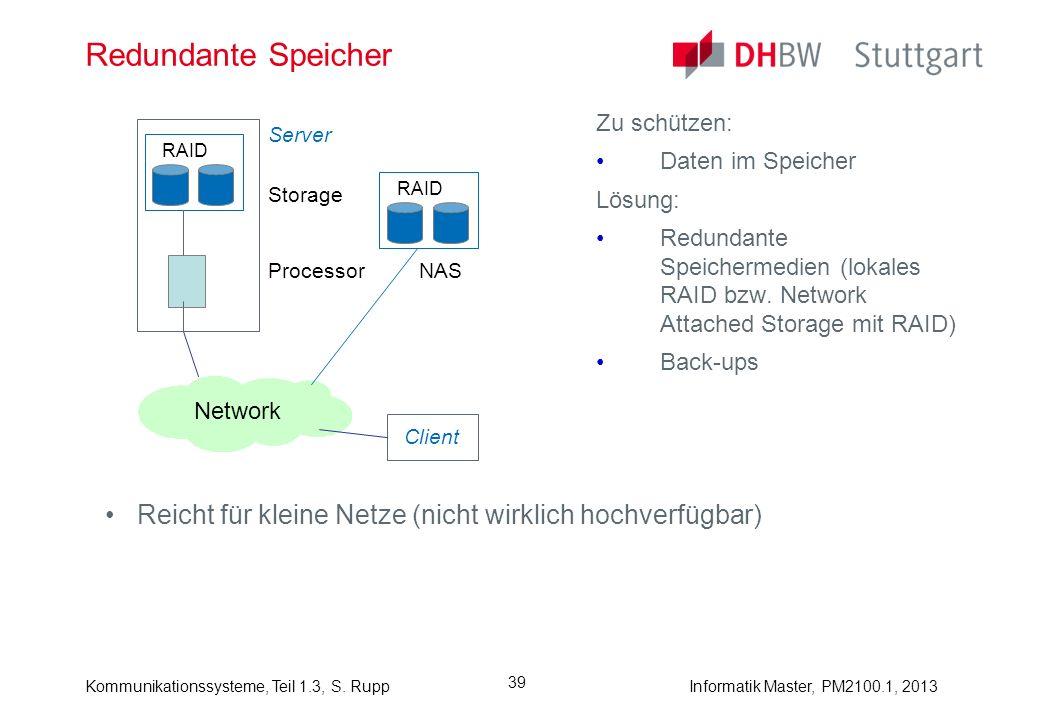 Redundante Speicher Zu schützen: Daten im Speicher. Lösung: Redundante Speichermedien (lokales RAID bzw. Network Attached Storage mit RAID)