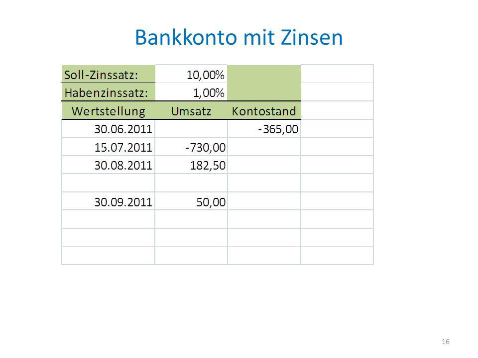 Bankkonto mit Zinsen