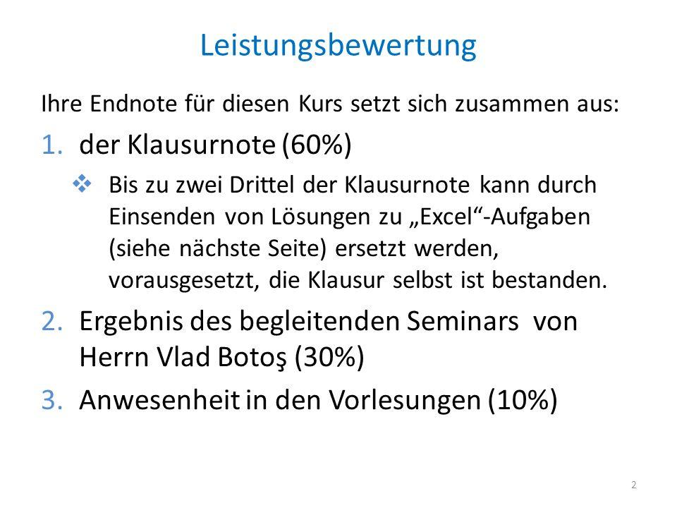 Leistungsbewertung der Klausurnote (60%)