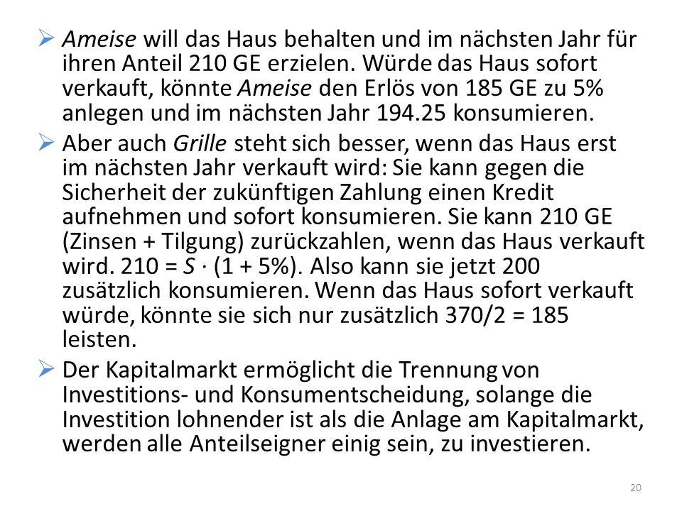 Ameise will das Haus behalten und im nächsten Jahr für ihren Anteil 210 GE erzielen. Würde das Haus sofort verkauft, könnte Ameise den Erlös von 185 GE zu 5% anlegen und im nächsten Jahr 194.25 konsumieren.