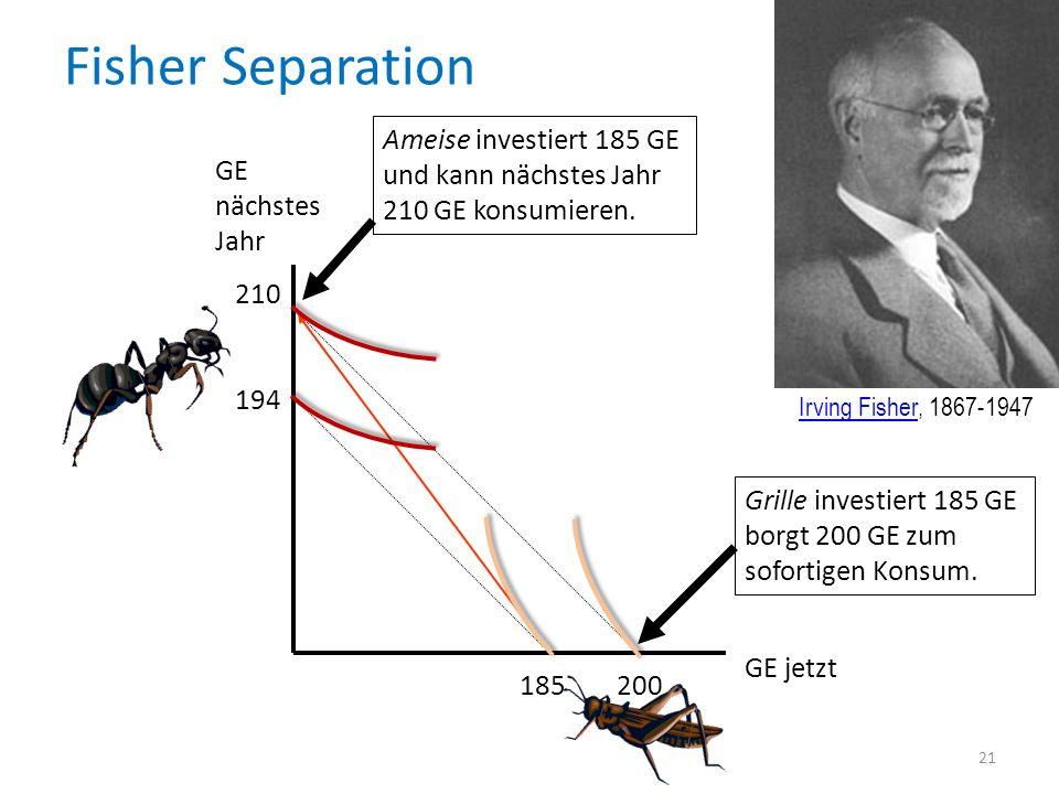 Fisher Separation Ameise investiert 185 GE und kann nächstes Jahr 210 GE konsumieren. GE nächstes Jahr.