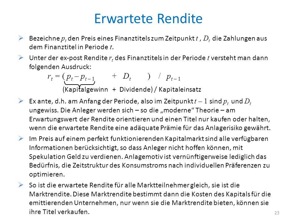 Erwartete Rendite Bezeichne pt den Preis eines Finanztitels zum Zeitpunkt t , Dt die Zahlungen aus dem Finanztitel in Periode t.