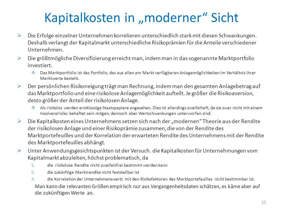 """Kapitalkosten in """"moderner Sicht"""