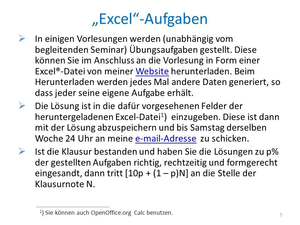 """""""Excel -Aufgaben"""