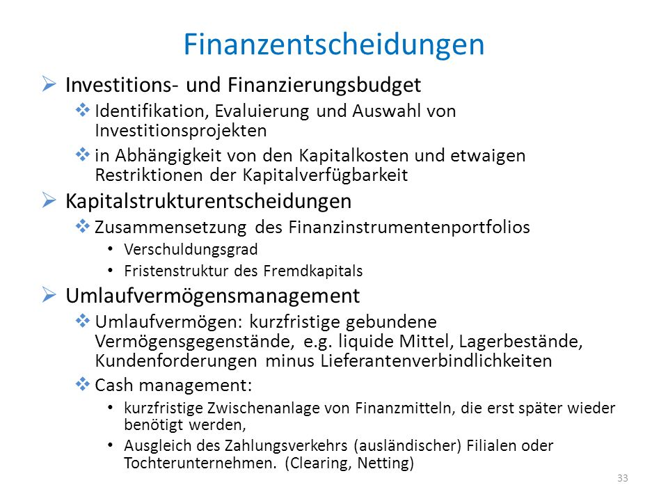 Finanzentscheidungen
