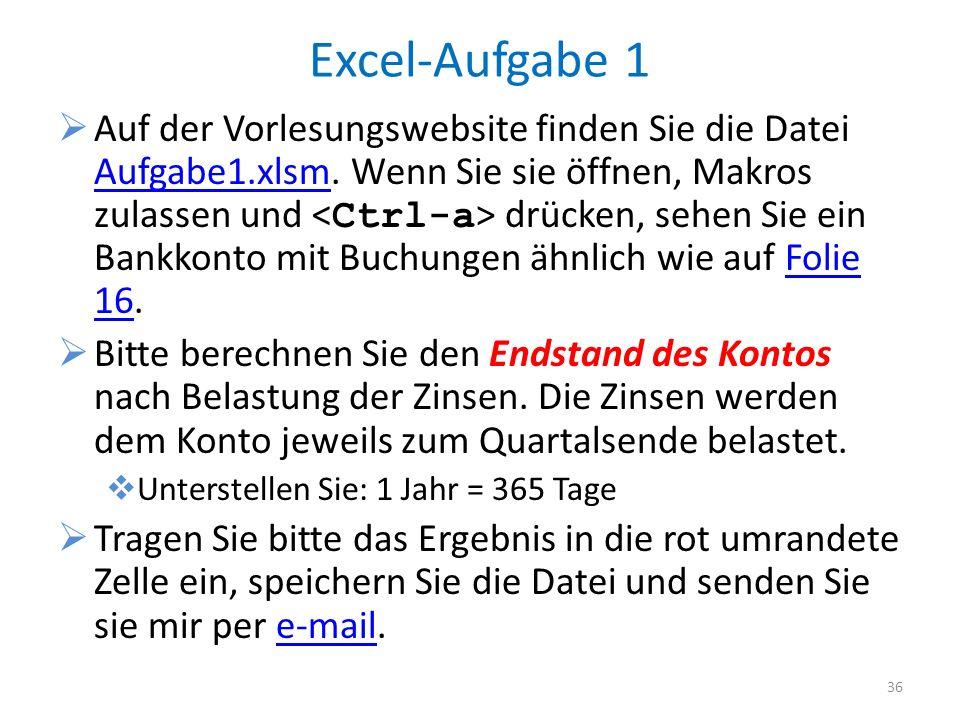 Excel-Aufgabe 1
