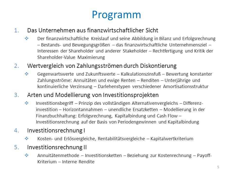 Programm Das Unternehmen aus finanzwirtschaftlicher Sicht