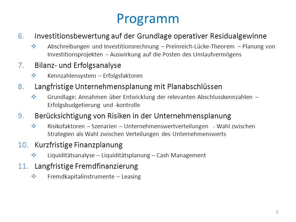 Programm Investitionsbewertung auf der Grundlage operativer Residualgewinne.
