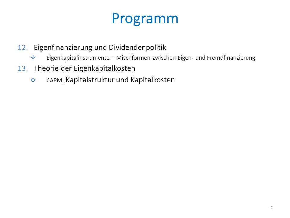 Programm Eigenfinanzierung und Dividendenpolitik