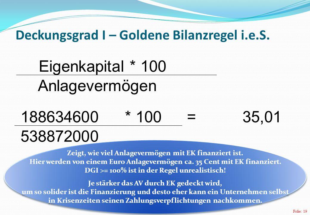 Deckungsgrad I – Goldene Bilanzregel i.e.S.