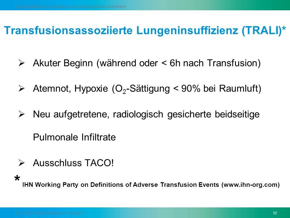 Transfusionsassoziierte Lungeninsuffizienz (TRALI)*