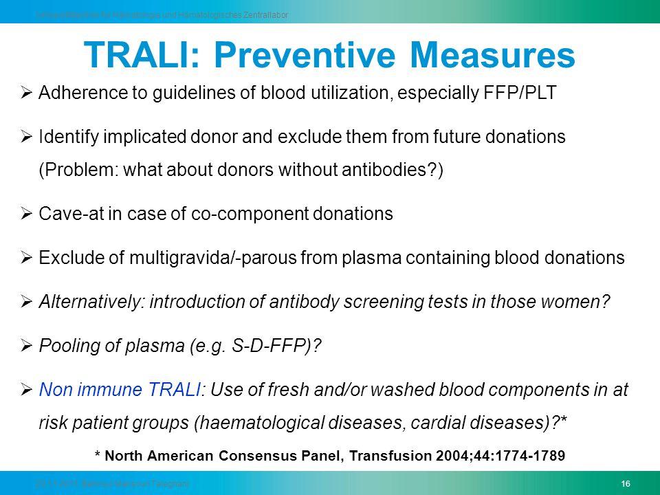 TRALI: Preventive Measures