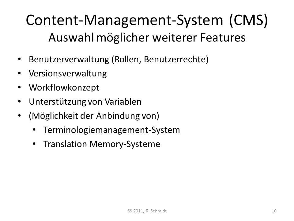 Content-Management-System (CMS) Auswahl möglicher weiterer Features