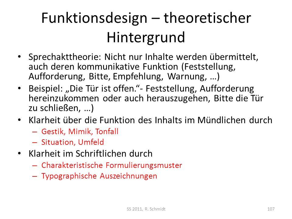 Funktionsdesign – theoretischer Hintergrund
