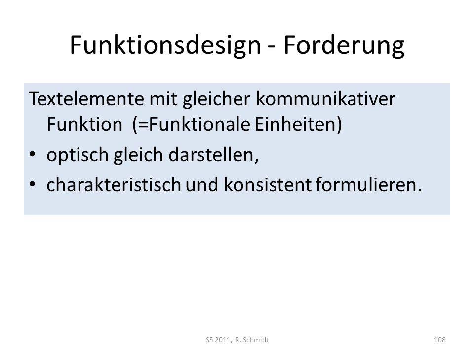 Funktionsdesign - Forderung