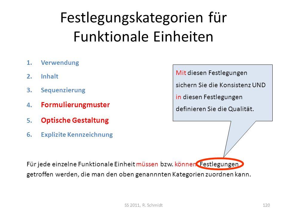 Festlegungskategorien für Funktionale Einheiten