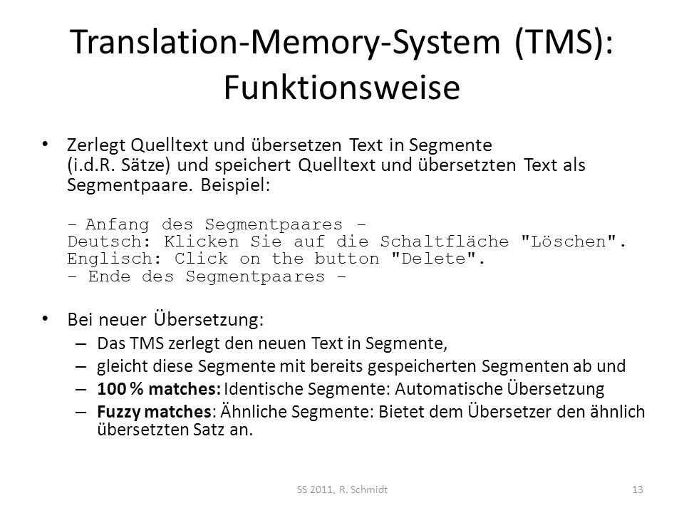 Translation-Memory-System (TMS): Funktionsweise