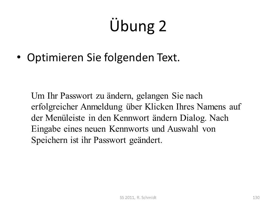 Übung 2 Optimieren Sie folgenden Text.