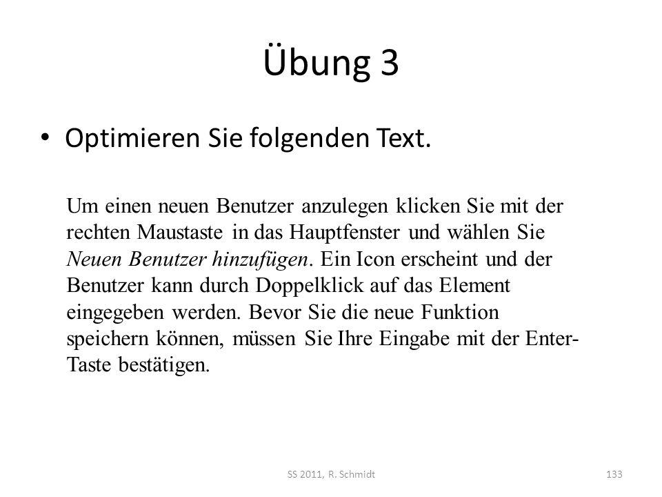 Übung 3 Optimieren Sie folgenden Text.