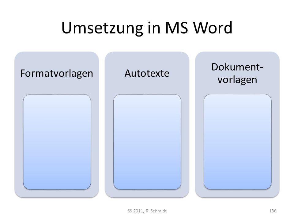 Umsetzung in MS Word Formatvorlagen Autotexte Dokument-vorlagen