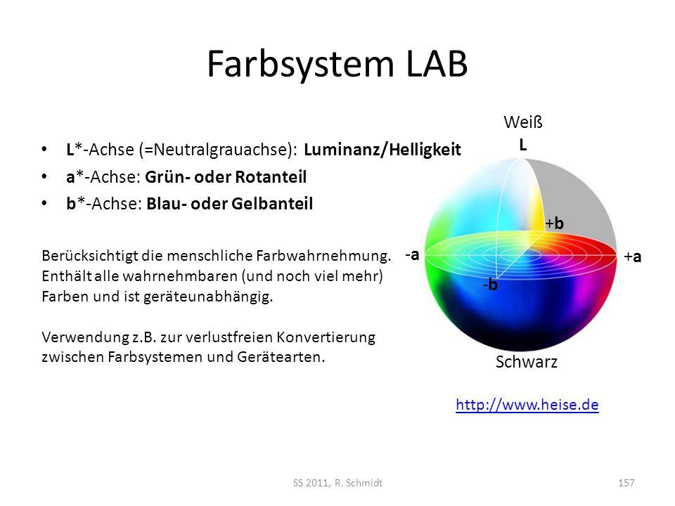 Farbsystem LAB L*-Achse (=Neutralgrauachse): Luminanz/Helligkeit. a*-Achse: Grün- oder Rotanteil. b*-Achse: Blau- oder Gelbanteil.
