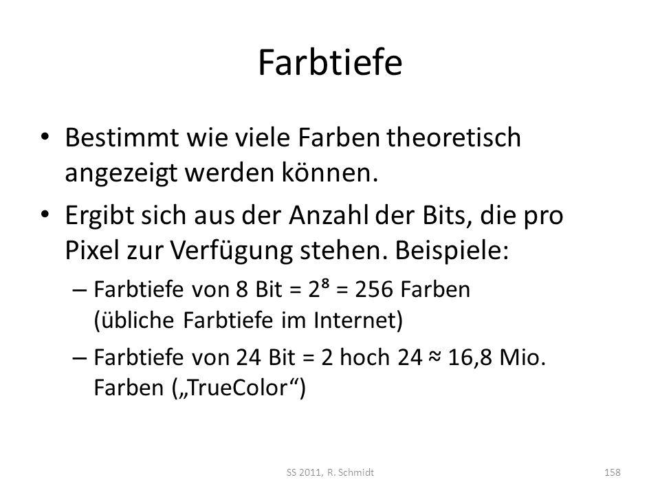 Farbtiefe Bestimmt wie viele Farben theoretisch angezeigt werden können.