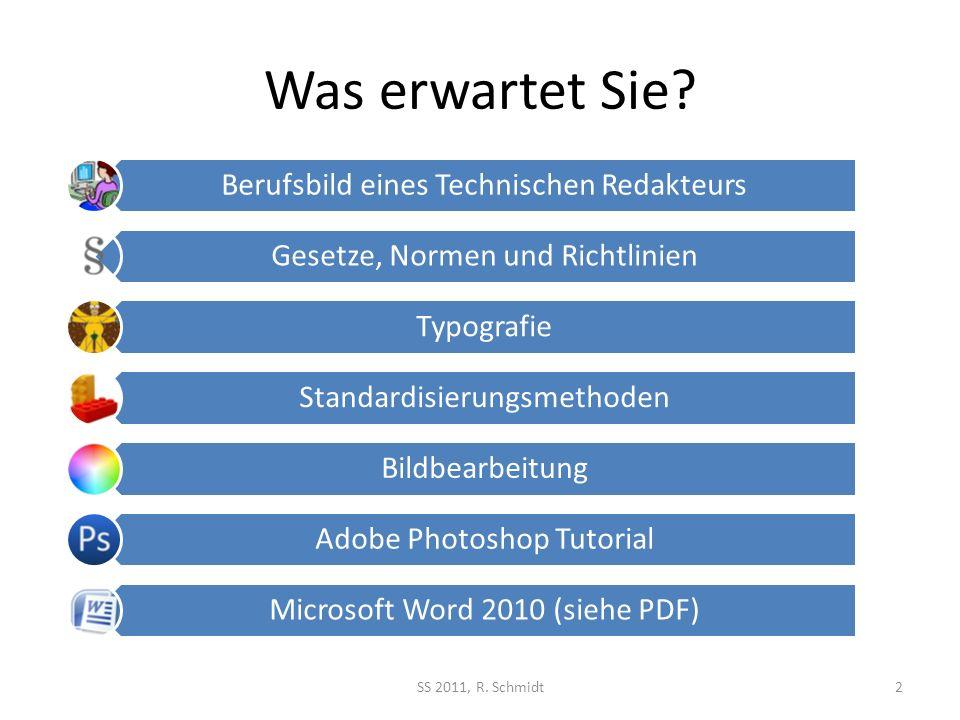 Was erwartet Sie SS 2011, R. Schmidt