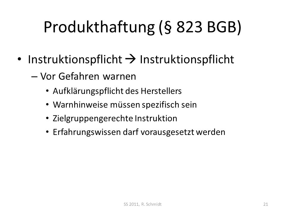 Produkthaftung (§ 823 BGB)